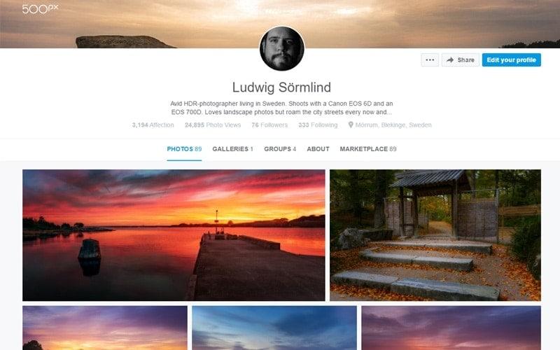 Dela bilder på nätet - De 5 bästa bilddelninssajterna 500 px - Ludwig Sörmlind