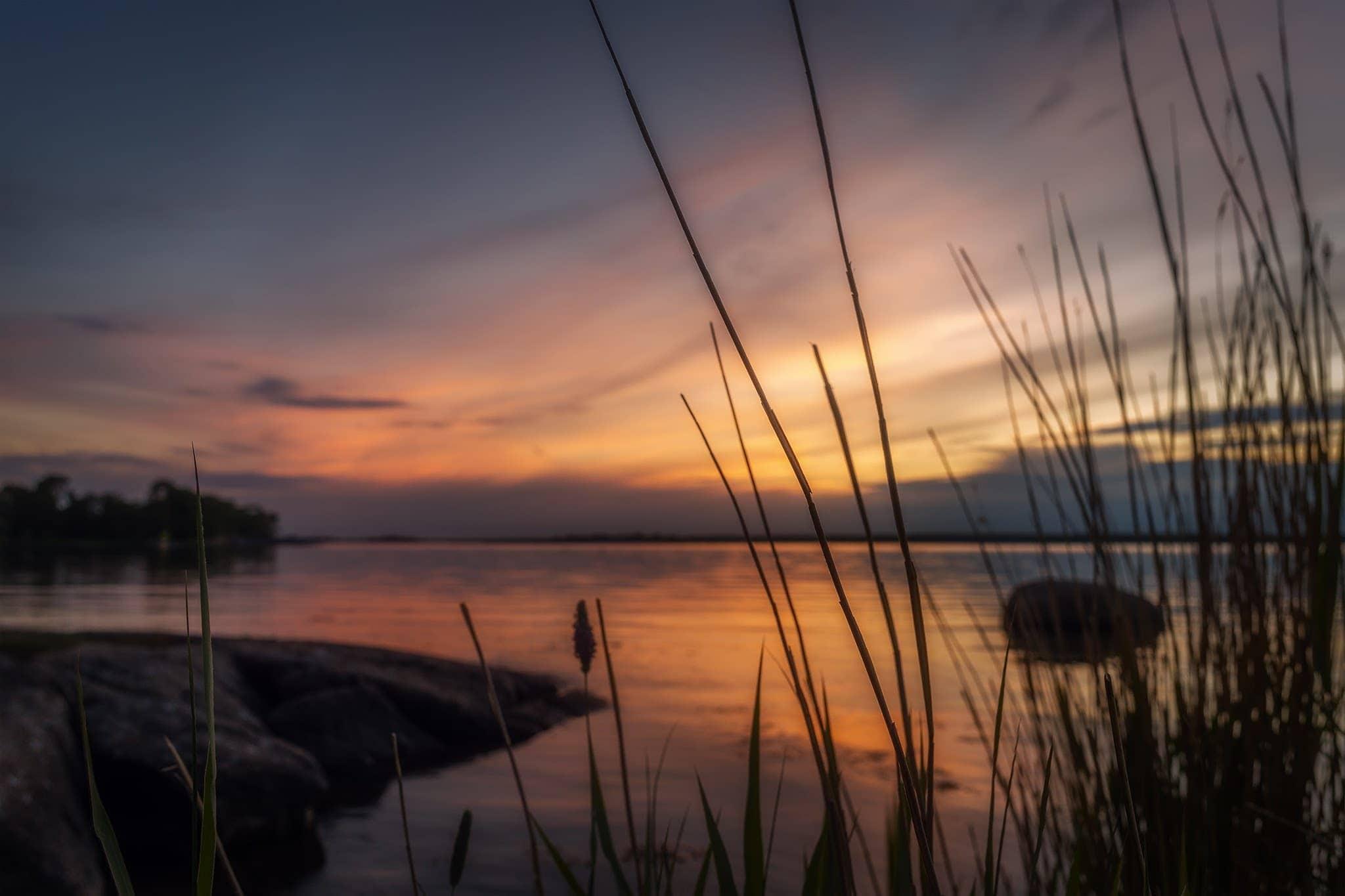 Landskapsbilder. Solnedgång över Blekinge.