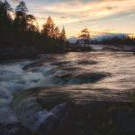Trollforsen i solnedgång - Ludwig Sörmlind